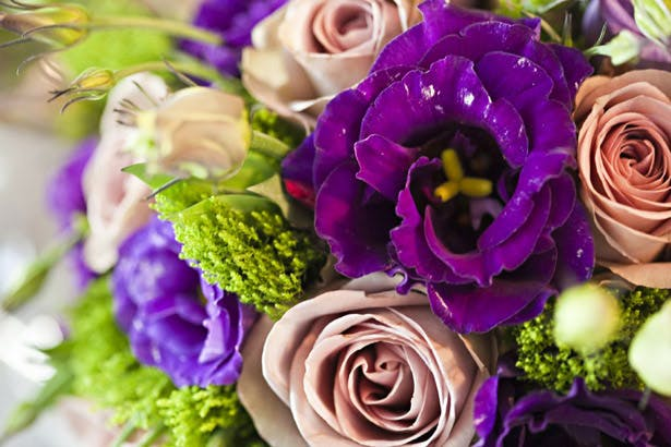 Purple bridesmaid's wedding bouquet