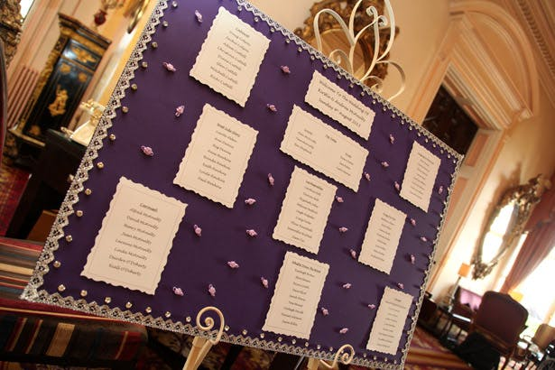 Purple wedding seating plan