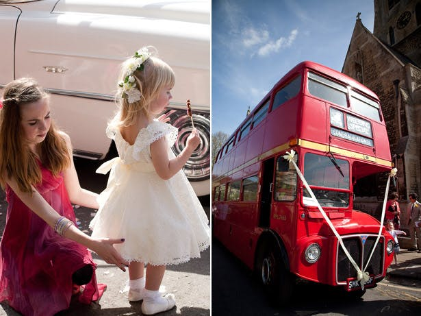 Flower Girl And Wedding Bus