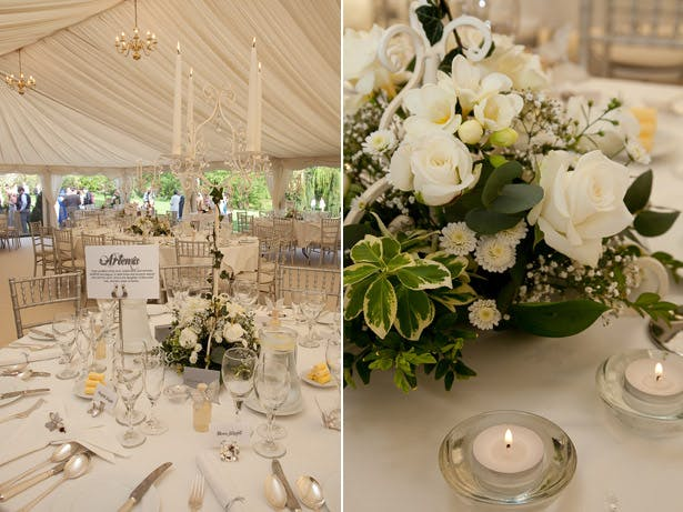 Reception Venue Decor White Flowers and Marquee