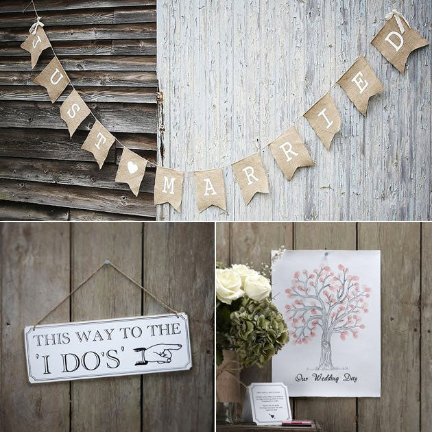 Rustic themed Just Married bunting A3 print tree and I Do sign