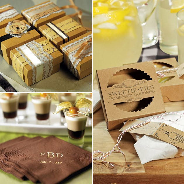 Rustic themed favour wrapping kit mini pie packaging kits and printed napkins