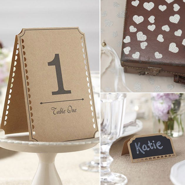 Rustic themed table numbers pack confetti and place cards with chalkboard