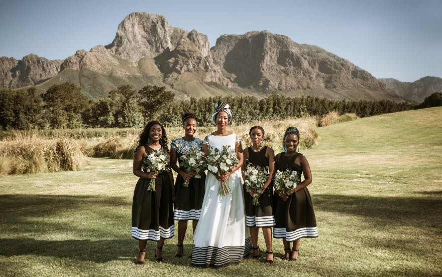 Black bride and bridesmaids with natural hair