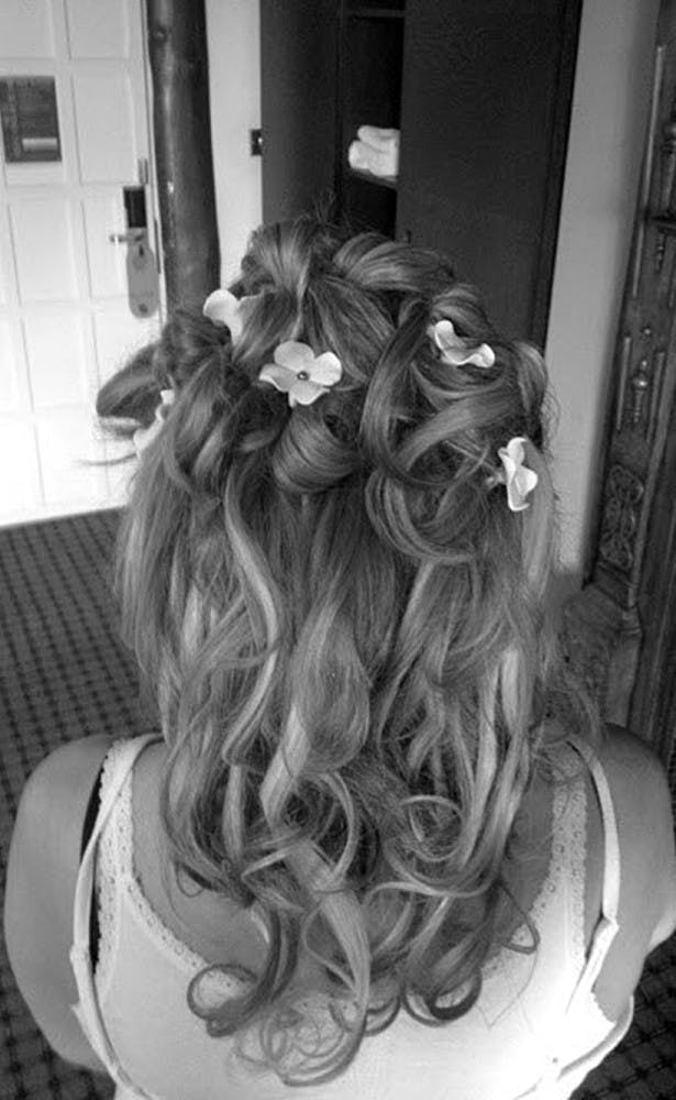 bridal hairstyles haircut look flowers curls