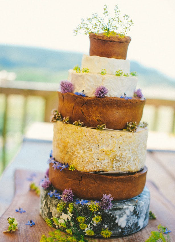 A pork pie and cheese wedding cake