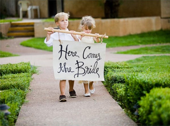 """""""Here Comes the Bride"""" Banner held by Flower Girl and Page Boy"""