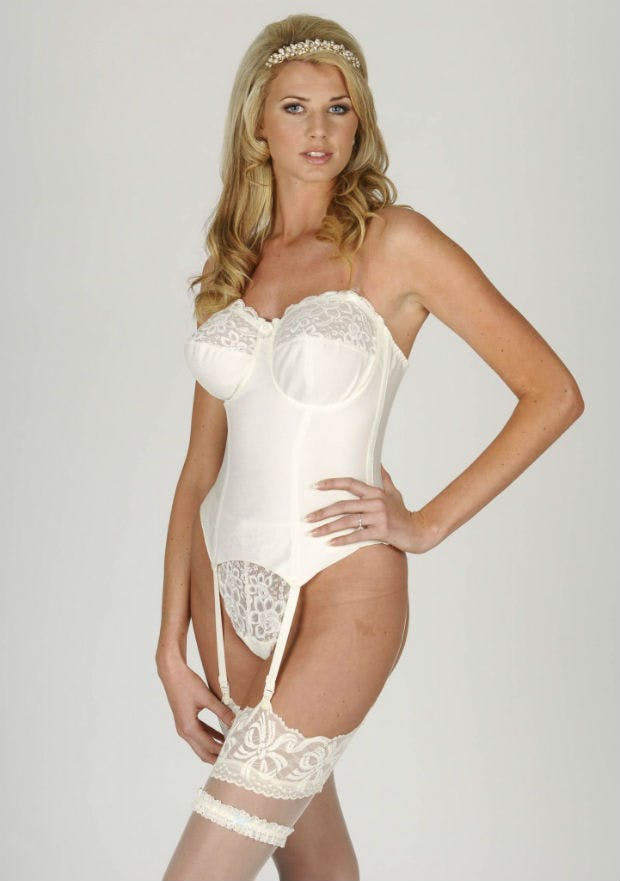 adae941f27 Bridal basque with stockings and garter by The Bra Closet.