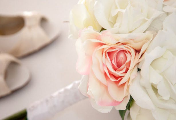 Blush pink and white rose bridal bouquet