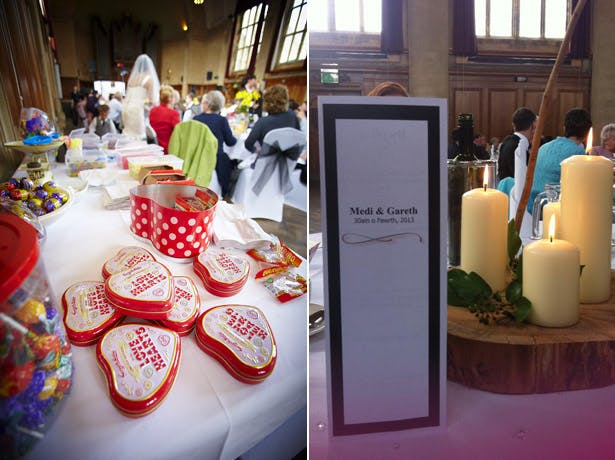 wedding day retro sweets pillar candles white red
