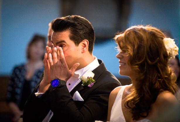 groom bride emotional ceremony