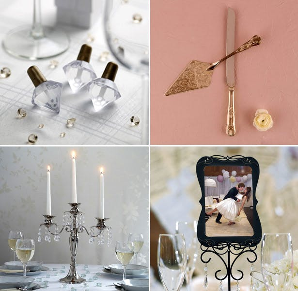 candles crystals frame wedding mood board