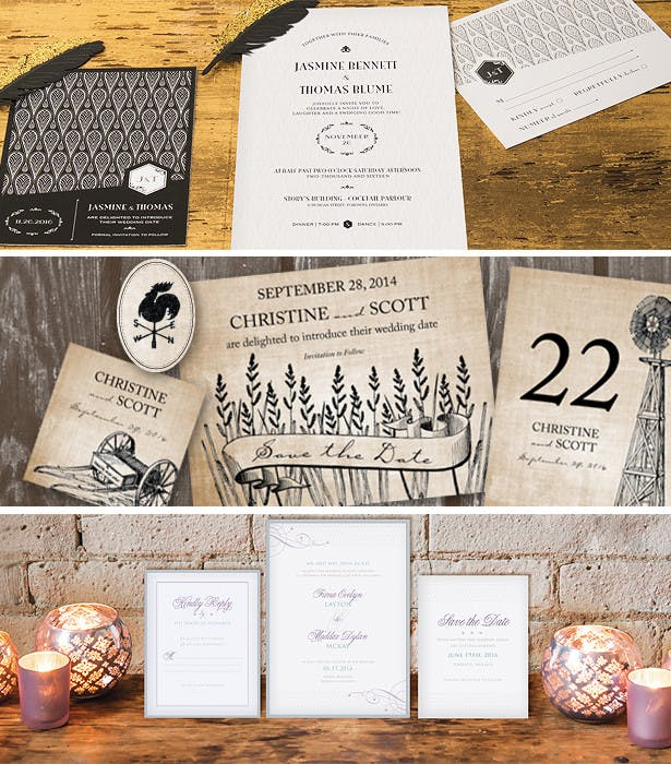 rustic vintage wedding art deco stationery moodboard