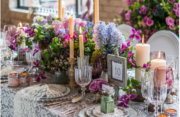 Decorated wedding venue table rustic theme