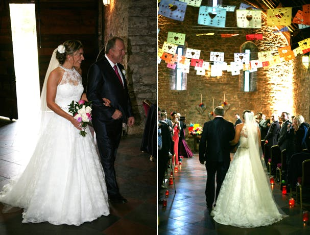 Bride entering the church with her father