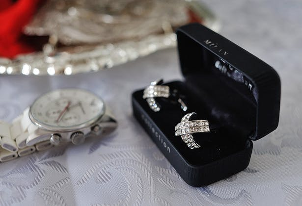 Grooms cufflinks and silver watch
