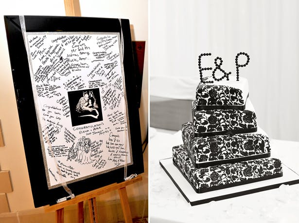 Black and white wedding cake and signing frame