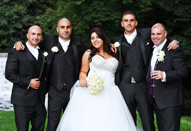 Bride with the groomsmen