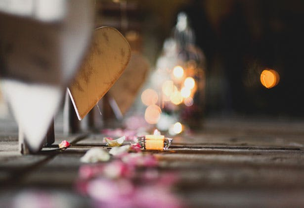 Candles and rose petal aisle