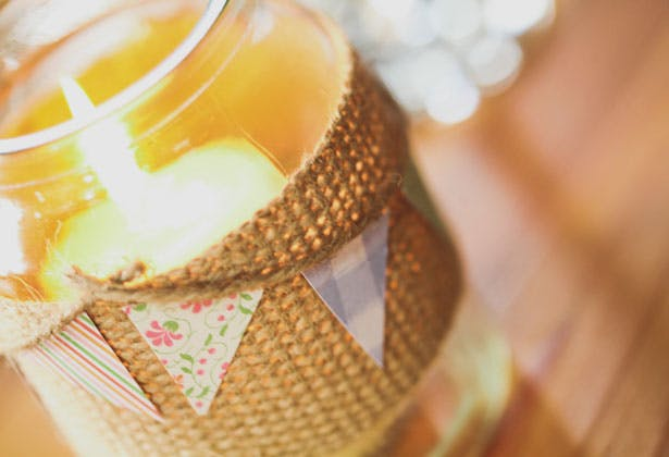 Burlap and mini bunting candle holder