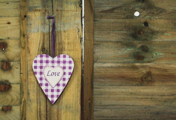 Purple and white checked heart