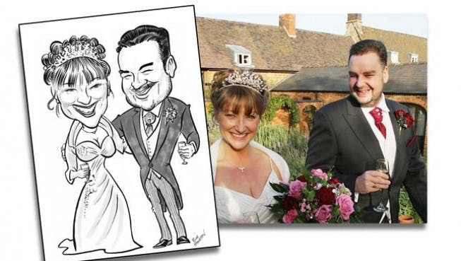 Monochrome black and white Bride and Groom Wedding Caricature