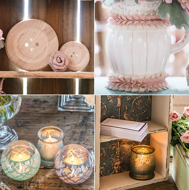 Rustic moodboard with Wooden, Burlap and Ruffled Fabric Decoration, Ribbon Trim, Display Drawer, Bell Tealight Holder, and Glass Globe