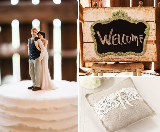 "Rustic Chalkboard on Faux Wood, Hessian Ring Cushion, ""A Sweet Embrace"" Bride Embracing Groom Cake Topper"