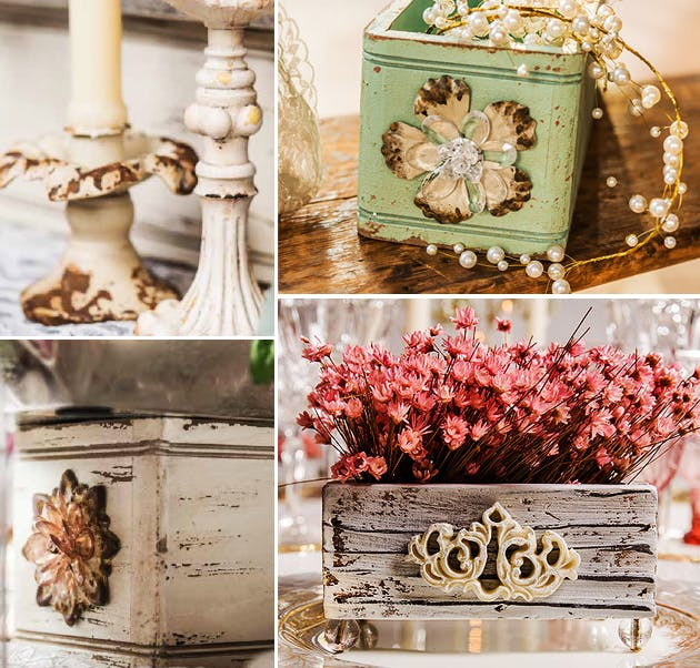 Rustic Shabby Chic Table Decoration ideas with Resin and Iron Taper Candle Holders, Ornate Boxes, and Jewel-Footed Wooden Boxes with Aged White Finish