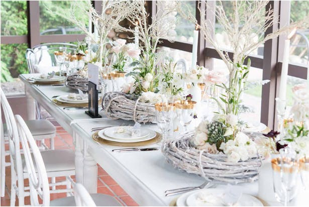 Woodland wedding theme table decorations
