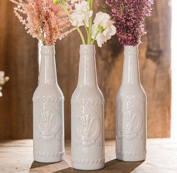 Rustic Shabby Chic Ceramic vase Bottle with Lavender Motif