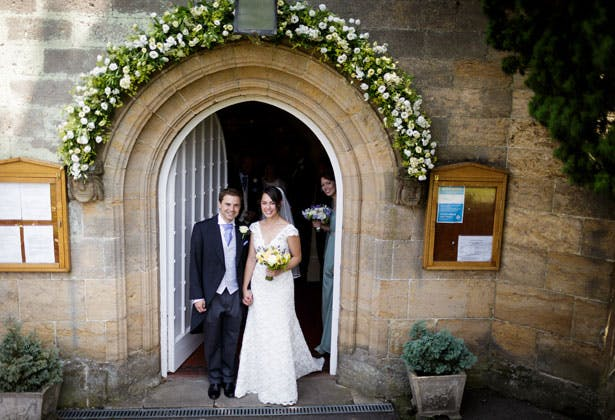 The newlyweds outside the church