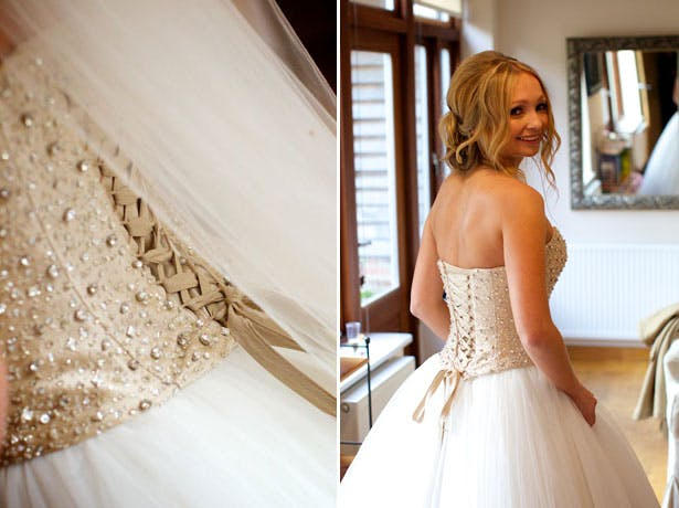 Bride in her Justin Alexander dress