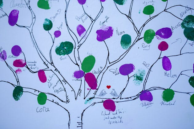 Guests filling in the personalised finger print tree