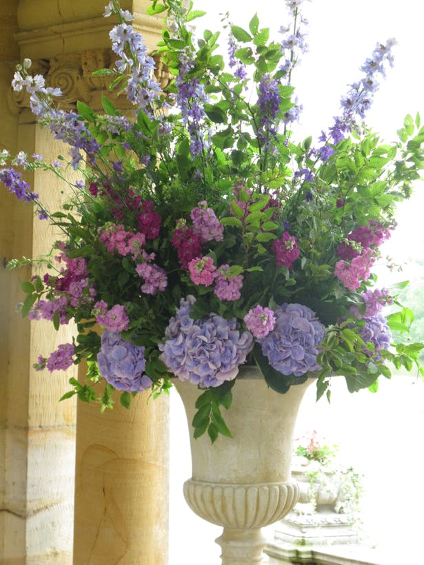 Flowers by Eve floral centrepiece arrangement in blue and purple