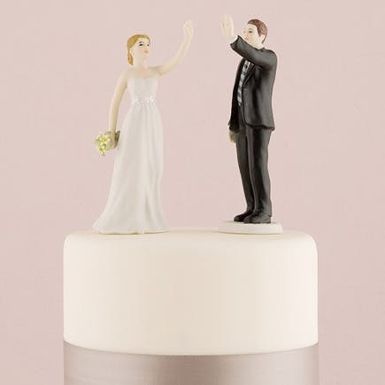 Fun Cake Toppers - High Five Bride and Groom Figurines   Confetti.co.uk