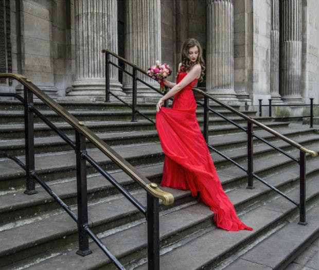 Bride in red wedding dress by Halo and Hobby