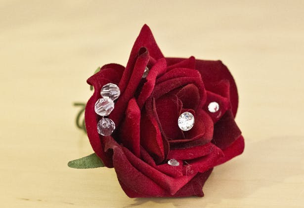 Budding Sensations Artificial Red Rose Corsage