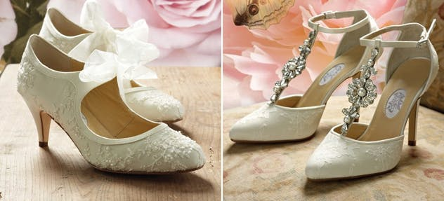 Vintage wedding shoes in 1920s and 1930s styles from Crystal Bridal Accessories