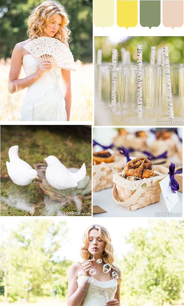 Yellow and green spring wedding inspiration mood board