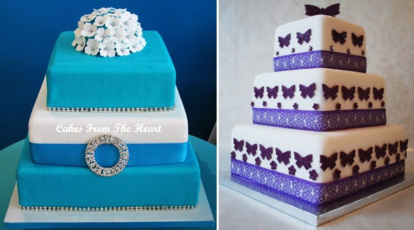 Square Tiered Wedding Cake Selection