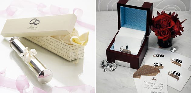 Wooden Memory Note Box with Anniversary Stationery and Amore Silver Plated Wedding Certificate Holder