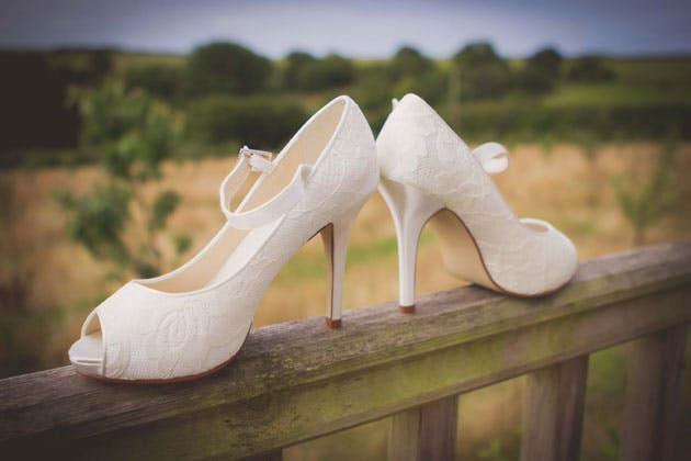 White patterned pep toe wedding shoes