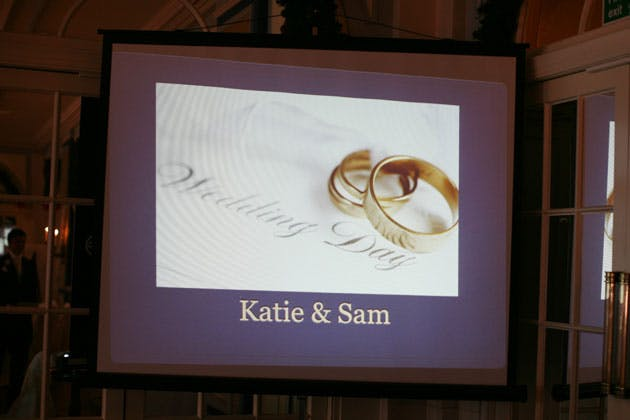 Projected Katie and Sam wedding message
