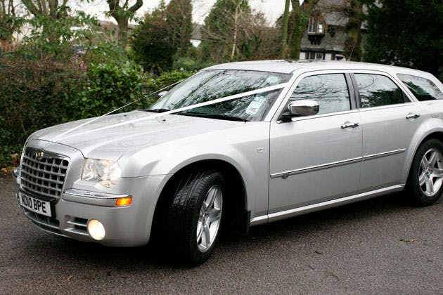 Silver wedding car