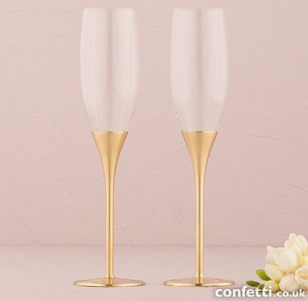 Gold Wedding Toasting Flutes