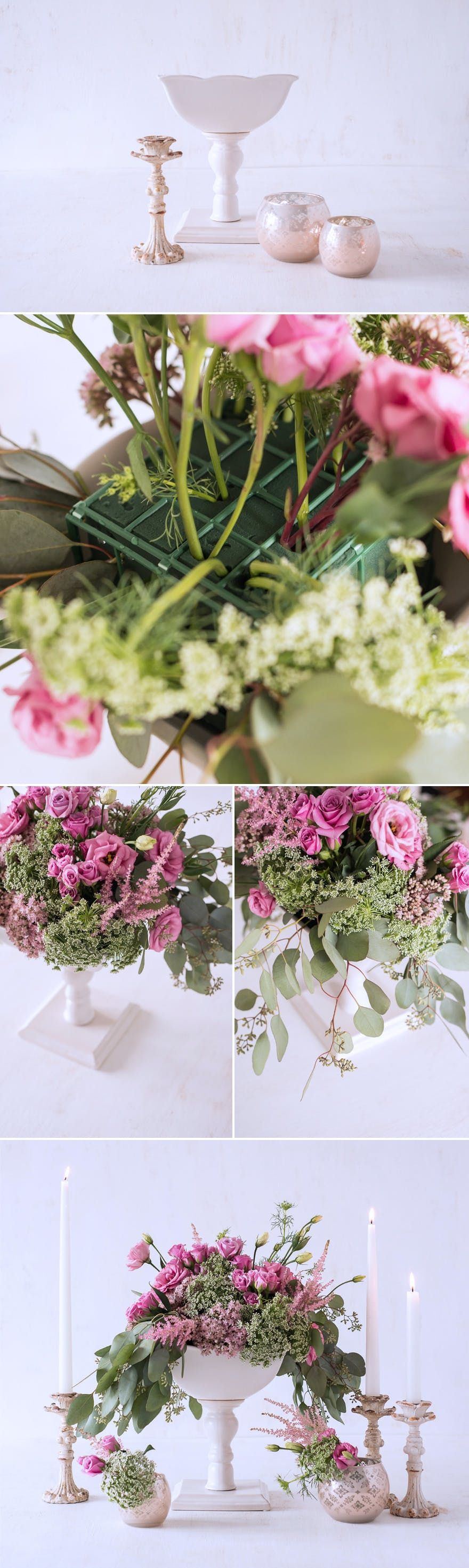 fb0704e2a221e7 Pink and Green DIY Centrepiece with Lisianthus Astilbe Queen Anne s Lace  Spray Roses Seeded Eucalyptus and