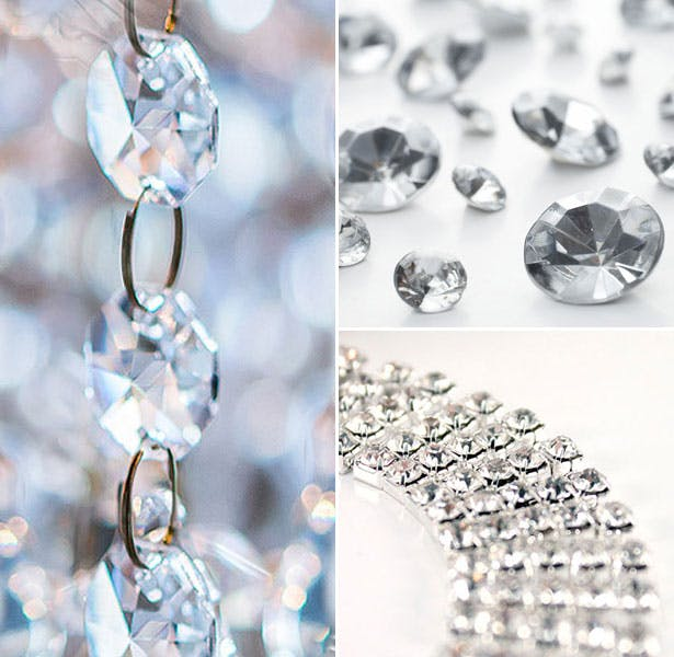 Crystal garland and diamond table gems