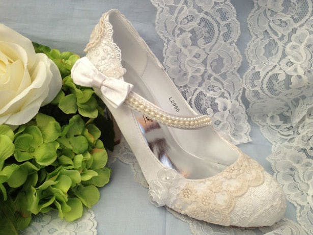Vintage 1920s style wedding shoes by Lace and Love