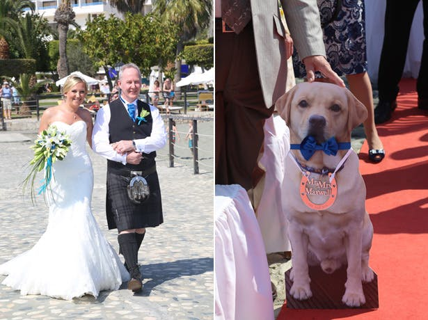 Cardboard cut-out of the couples dog at the ceremony